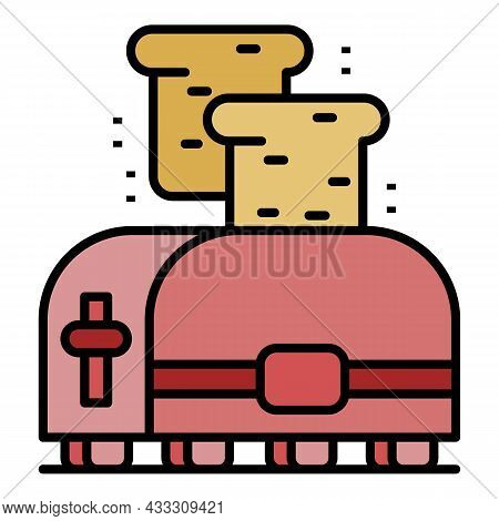 Domestic Toaster Icon. Outline Domestic Toaster Vector Icon Color Flat Isolated