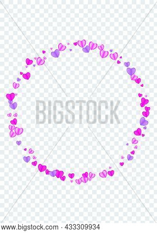 Fond Confetti Background Transparent Vector. Design Frame Heart. Pink Gift Backdrop. Red Confetti Fe