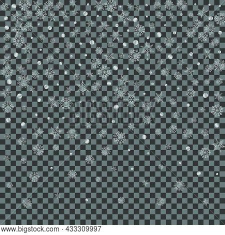 Grey Confetti Background Transparent Vector. Snow Snowy Card. Luminous Dot Wintry. Silver Snowfall I