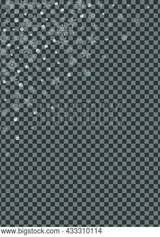 Metal Snow Background Transparent Vector. Snowflake Design Texture. Luminous Flake Spray. Silver Gra