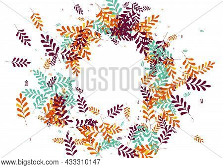 Red Leaf Background White Vector. Plant Abstract Frame. Yellow Herb. Gold Foliage Gradation. October