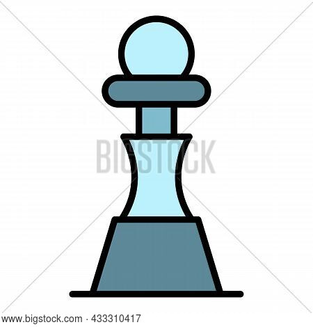 Chess Pawn Piece Icon. Outline Chess Pawn Piece Vector Icon Color Flat Isolated