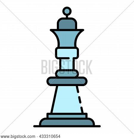 Chess Queen Icon. Outline Chess Queen Vector Icon Color Flat Isolated