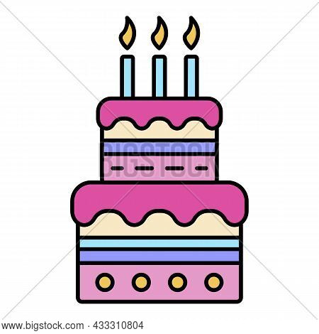 Birthday Cake With Candles Icon. Outline Birthday Cake With Candles Vector Icon Color Flat Isolated