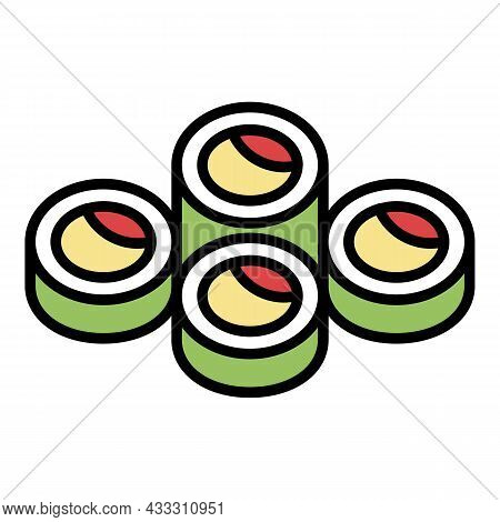 Online Sushi Roll Icon. Outline Online Sushi Roll Vector Icon Color Flat Isolated