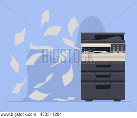 Office Professional Copier Or Printer Printing Documents. Printer Office Work Multifunction Printing