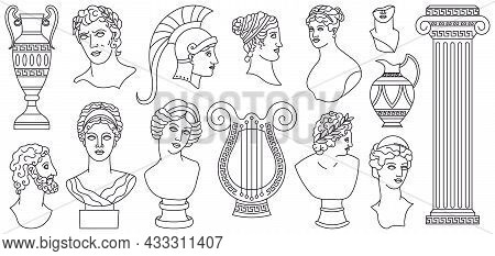 Antique Ancient Greece Heads, Sculptures, Architectural Elements. Greek Marble Statues, Vases, Godde