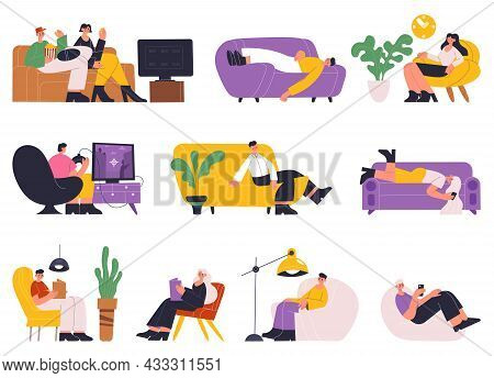 People Resting, Sleeping, Reading Books On Comfy Sofa. Young Women And Men Relaxing, Spending Time O