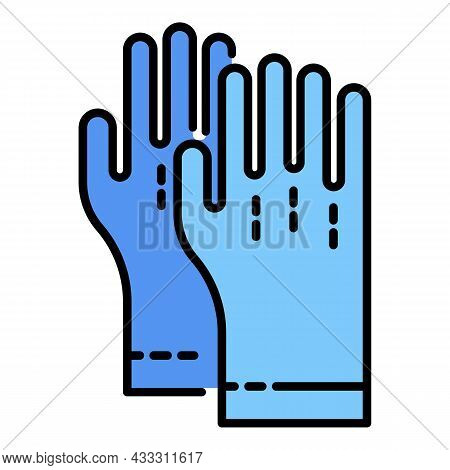 Rubber Gloves Icon. Outline Rubber Gloves Vector Icon Color Flat Isolated