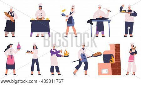Professional Restaurant Chefs Characters Cooking Tasty Dishes. Culinary Chef Preparing Food In Tradi