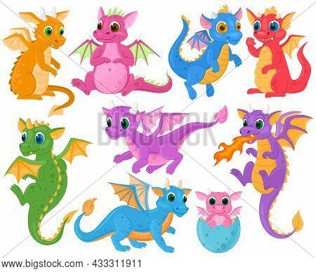 Cartoon Cute Baby Fairytale Fantasy Dragons Characters. Medieval Creatures Dragon Kids, Fairytale Le