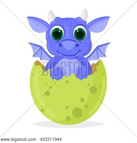 Cartoon Fairy Tale Fantasy Cute Newborn Baby Dragon. Cute Dragon Baby Hatches From Egg Isolated Vect