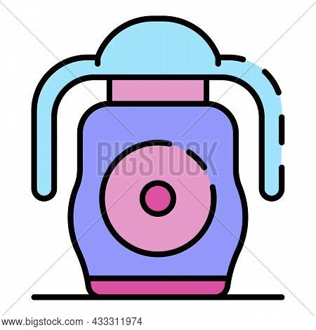 Rubber Sippy Cup Icon. Outline Rubber Sippy Cup Vector Icon Color Flat Isolated