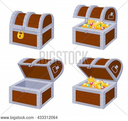 Cartoon Pirate Wooden Chests With Gold Treasure, Open And Close. Wooden Pirate Trunks Full Golden Tr
