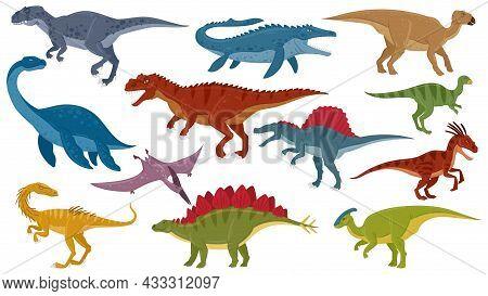 Cartoon Dinosaurs, Jurassic Extinct Dino Raptors, Predators And Herbivores. Jurassic Dinosaurs Repti
