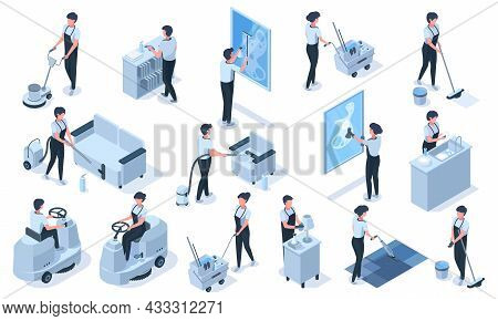 Isometric Cleaning Service Professional Workers Characters. Cleaning Service Vacuum, Clean Furniture