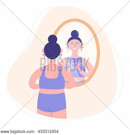 The Girl Looks In The Mirror And Shows Her Reflection A Heart Gesture. Character Woman Watch Mirror