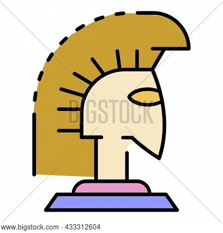 Greek Helmet Icon. Outline Greek Helmet Vector Icon Color Flat Isolated