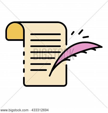 Writing Papyrus Icon. Outline Writing Papyrus Vector Icon Color Flat Isolated