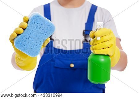 Cleaning Service Concept - Wipe And Detergent In Professional Cleaner Hands Isolated On White Backgr
