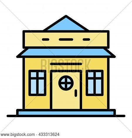 Ski Resort House Icon. Outline Ski Resort House Vector Icon Color Flat Isolated