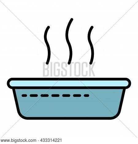 Hot Water Basin Icon. Outline Hot Water Basin Vector Icon Color Flat Isolated