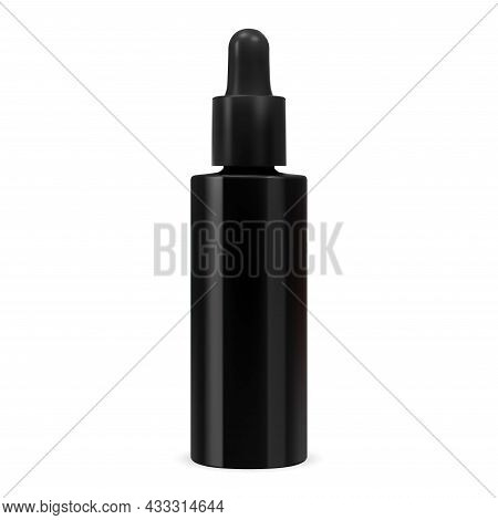 Cosmetic Serum Bottle. Black Glass Dropper Pipette Flask. Essential Oil Eyedropper Container Mockup.