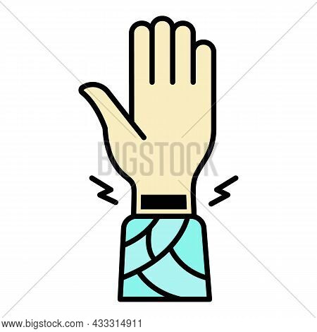 Frostbite Wrist Hand Icon. Outline Frostbite Wrist Hand Vector Icon Color Flat Isolated