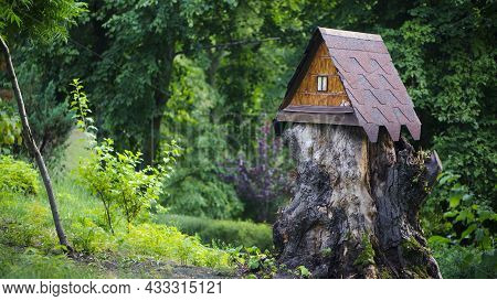 House In The Forest For Animals And Birds. Wooden Bird House In The Summer Park. On An Tree Stump. O