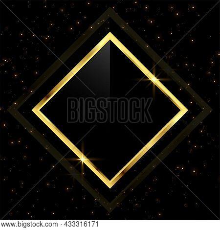 Golden Frame With Scattered Glitter Sparkles Vector Design Illustration