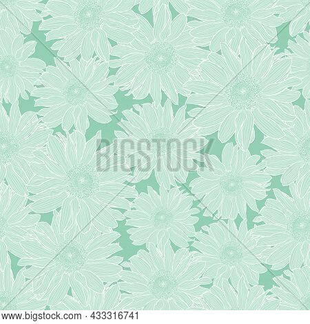 Vector Seamless Pattern Of Chamomile Flowers In Light Green Pastel Colors With White Outline. Decora