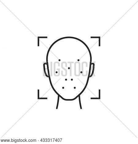 Black Thin Line Face Id Minimal Icon. Concept Of Easy Access To Device And Faceid For Unlock Phone.