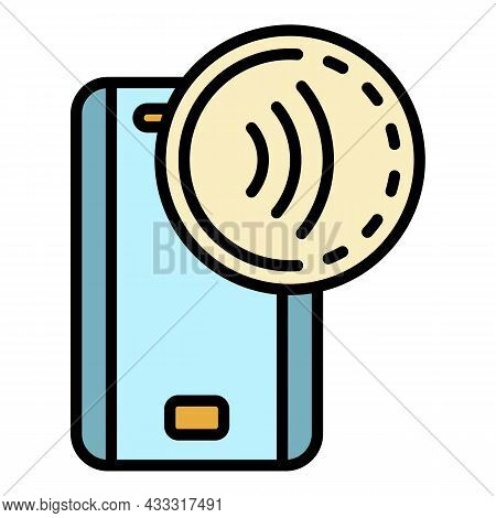 Nfc Device Icon. Outline Nfc Device Vector Icon Color Flat Isolated