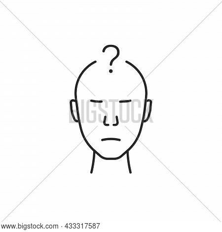 Black Thin Line Thinking Person Icon. Flat Lineart Trend Modern Stroke Doubt Logotype Graphic Monoli