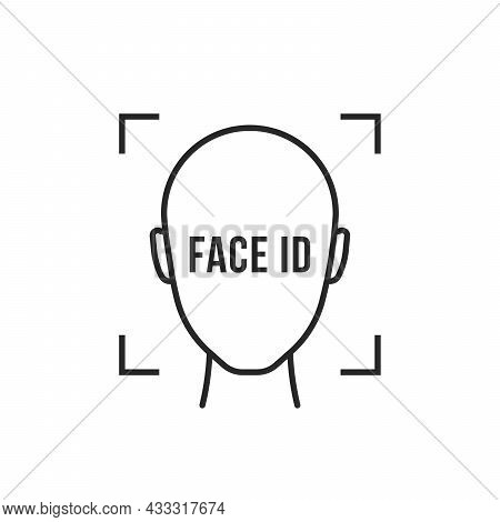 Thin Line Black Face Id Simple Icon. Flat Lineart Style Modern Stroke Minimal Logotype Graphic Art D