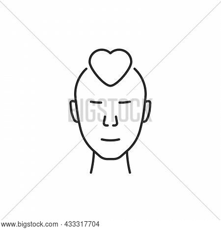 Linear Human Face With Simple Heart. Flat Stroke Style Trend Modern Minimal Lineart Logotype Graphic