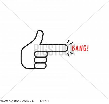Thin Line Finger Shot Funny Icon. Concept Of Simple Silly Joke Or Fun Children War Games. Lineart St