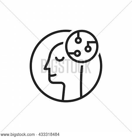 Linear Head Like Artificial Intelligence. Flat Stroke Trend Modern Ai Or Iot Logotype Graphic Design