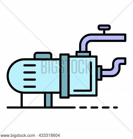 Pool Motor Pump Icon. Outline Pool Motor Pump Vector Icon Color Flat Isolated