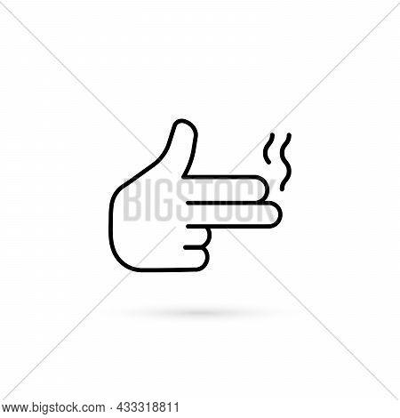 Simple Thin Line Finger Like Pistol. Flat Stroke Style Trend Modern Logotype Graphic Art Design Elem