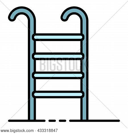 Pool Staircase Icon. Outline Pool Staircase Vector Icon Color Flat Isolated