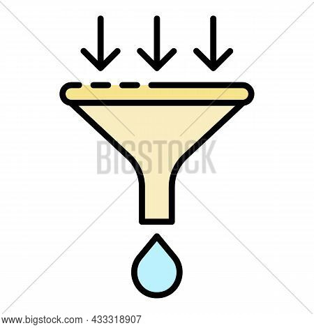 Water Filter Funnel Icon. Outline Water Filter Funnel Vector Icon Color Flat Isolated