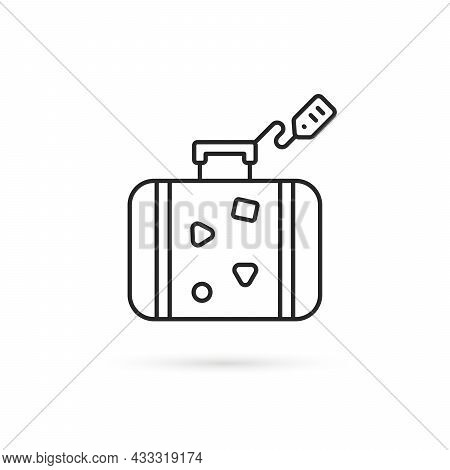 Thin Line Travel Suitcase With Tag. Flat Lineart Style Trend Modern Stroke Logotype Graphic Art Desi