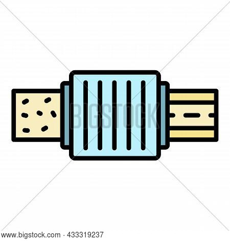 Pipe Water Filter Icon. Outline Pipe Water Filter Vector Icon Color Flat Isolated