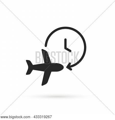 Black Air Plane With Timer Icon. Flat Simple Style Trend Modern Minimal Logotype Graphic Design Elem