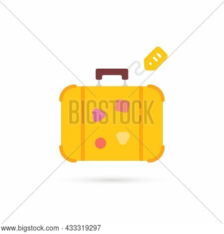 Yellow Cartoon Travel Suitcase With Label. Concept Of Case For Inveterate Travelers And Comfortable