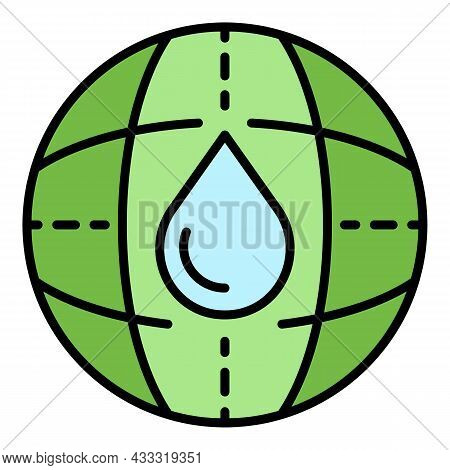 Global Water Filtration Icon. Outline Global Water Filtration Vector Icon Color Flat Isolated
