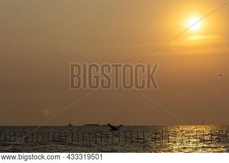 Beautiful Sea And Sky Views After Sunset With The Reflection Of The Sun On The Sea In The Evening In