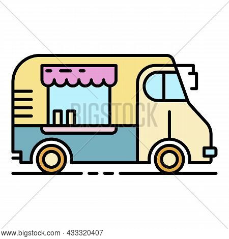 Cafeteria Vehicle Icon. Outline Cafeteria Vehicle Vector Icon Color Flat Isolated