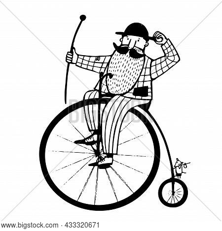 Man On The Old Bicycle With Big Wheel, Ink Art Illustration, Vector Vintage Clipart With Cartoon Cha